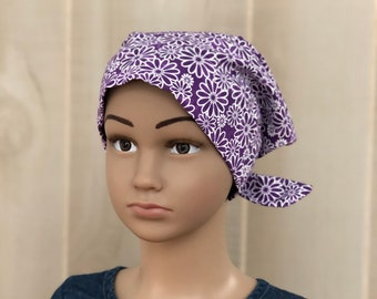 Children's Head Scarf, Girl's Chemo Hat, Cancer Headwear, Alopecia Head Cover, Head Wrap, Cancer Gift for Hair Loss, Purple Daisies