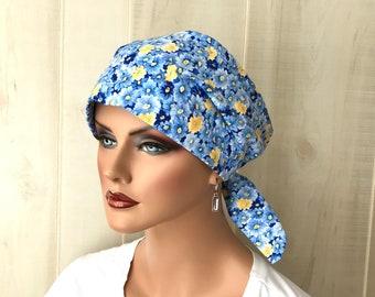 Women's Surgical Scrub Cap, Scrub Hat, Cancer Head Scarf, Chemo Headwear, Alopecia Head Cover, Head Wrap, Turban, Cancer Gift, Blue Flowers