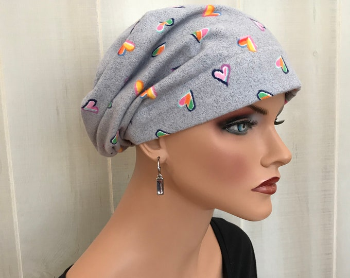 Featured listing image: Women's Flannel Head Scarf, Cancer Headwear, Chemo Hat, Alopecia Head Cover, Head Wrap, Hair Loss, Cancer Gift, Chemotherapy Gift Gray Heart