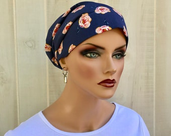 Head Scarf For Women, With Hair Loss. Chemo Headwear, Cancer Hat, Headcoverings, Alopecia, HeadWrap, Hair Wrap, Turban, Blue Pink Flower