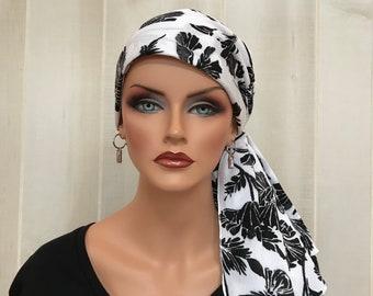 Pre-Tied Head Scarf, Women's Cancer Headwear, Chemo Head Cover, Alopecia Hat, Head Wrap, Hair Loss, Cancer Gift, Black White Flowers