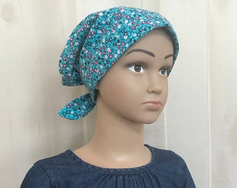 Children's Head Scarf, Girl's Chemo Hat, Cancer Head Cover, Alopecia Headwear, Head Wrap, Cancer Gift, Hair Loss Gift, Small Teal Flowers