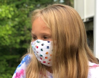 Washable Face Mask, Ages 5 - 12, Adjustable Elastic, Reusable Face Covering, Child Sizes, Rainbow Paws
