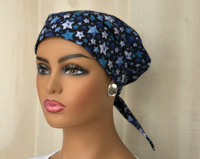 Featured listing image: Women's Surgical Scrub Cap, Scrub Hat, Cancer Head Scarf, Chemo Headwear, Alopecia Head Cover, Head Wrap, Cancer Gift,  Navy Patriotic Stars