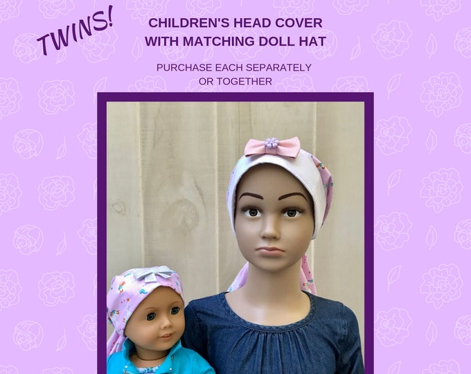 Featured listing image: Matching Child's Head Scarf And Doll Hat For Girls With Hair Loss, Childhood Cancer, Chemo Hat, Cancer Gift, Alopecia, Pink Unicorns