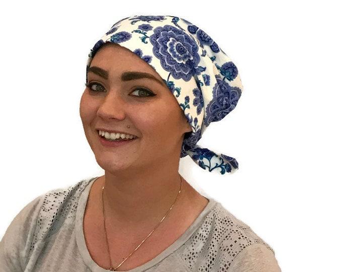 Featured listing image: Women's Surgical Scrub Cap, Scrub Hat, Cancer Head Scarf, Chemo Headwear, Alopecia Head Cover, Head Wrap, Cancer Gift, Blue Paisley Flowers