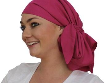 Jessica Pre-Tied Head Scarf - Women's Cancer Headwear, Chemo Scarf, Alopecia Hat, Head Wrap, Head Cover for Hair Loss - Fuchsia Pink