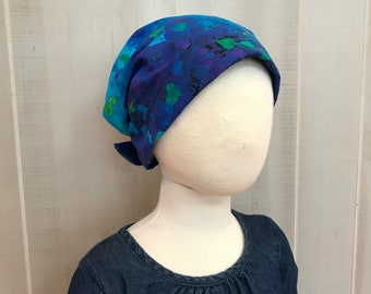 Children's Head Scarf, Girl's Chemo Hat, Cancer Headwear, Alopecia Head Cover, Head Wrap, Cancer Gift for Hair Loss Gift, Blue Hearts