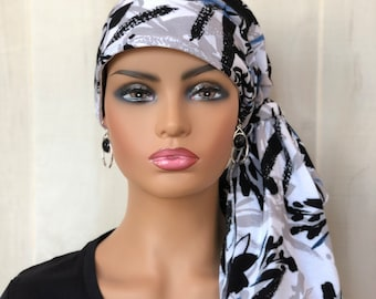 Pre-Tied Head Wrap For Women With Hair Loss, Breast Cancer Gifts, Floral Head Scarf