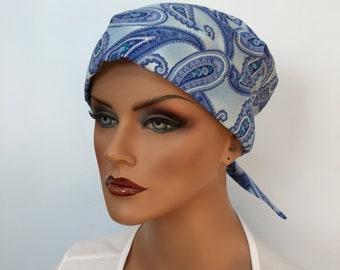 Sandra Women's Surgical Scrub Cap, Cancer Hat, Chemo Head Scarf, Alopecia Head Cover, Head Wrap, Headwear, Hair Loss - Blue Pailsey