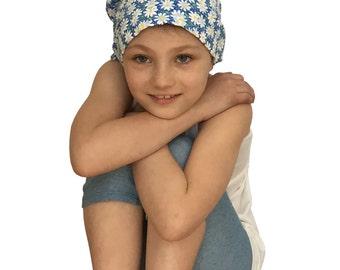 Mia Children's Head Cover, Girl's Cancer Headwear, Chemo Scarf, Alopecia Hat, Head Wrap, Cancer Gift for Hair Loss - Blue Daisies