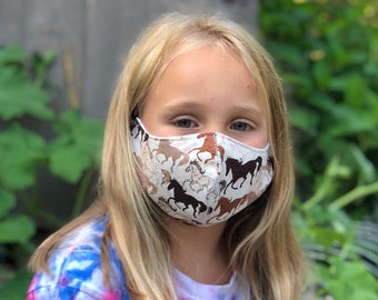 Washable Face Mask, Ages 5 - 12, Adjustable Elastic, Reusable Face Covering, Child Sizes, Brown Horses