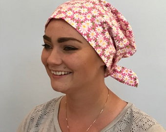 Sandra Women's Surgical Scrub Cap, Scrub Hat, Chemo Hat, Cancer Scarf, Alopecia Head Wrap, Cancer Gift, Hair Loss Pink Daisies
