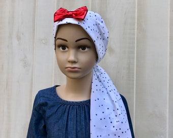 Child's Pre-Tied Head Scarf, Girl's Chemo Hat, Cancer Head Cover, Alopecia Headwear, Head Wrap, Cancer Gift, Hair Loss, Patriotic Stars
