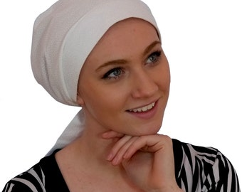 Sandra Scarf, A Women's Surgical Scrub Cap, Cancer Headwear, Chemo Head Scarf, Alopecia Hat, Head Wrap, Head Cover, Hair Loss - White Vine