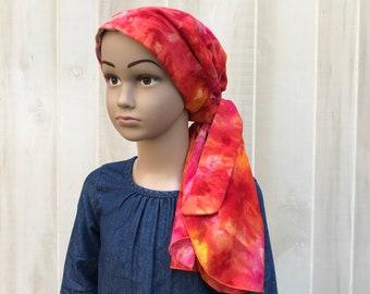 Child's Pre-Tied Head Scarf, Girl's Chemo Hat, Cancer Head Cover, Alopecia Headwear, Head Wrap, Cancer Gift, Hair Loss, Orange Tie Dye