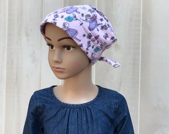 Children's Flannel Head Scarf, Girl's Cancer Hat, Chemo Headwear, Alopecia Head Cover, Head Wrap, Cancer Gift, Hair Loss,  Pink Fairies