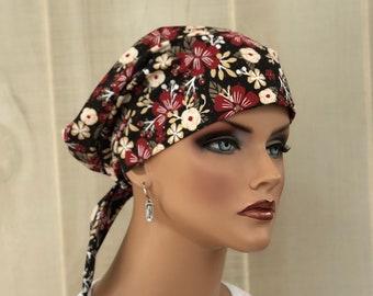 Scrub Caps For Women, Nurse Gift, Scrub Hats, Brown Red Flowers