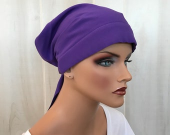 Women's Head Scarf, Cancer Headwear, Chemo Hat, Alopecia Head Wrap, Head Cover, Hair Loss, Cancer Gift, Chemo Gift, Purple