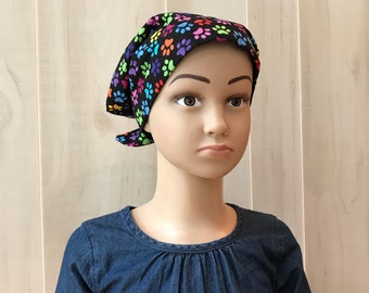 Children's Head Scarf, Girl's Chemo Hat, Cancer Headwear, Alopecia Head Cover, Head Wrap, Cancer Gift for Hair Loss Gift, Rainbow Paws