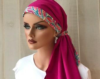 Pre-Tied Head Scarf For Women With Hair Loss. Cancer Headwear, Chemo Head Cover, Alopecia Hat, Head Wrap, Turban,  Fuchsia Feather Band
