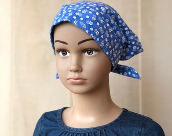 Children's Head Scarf, Girl's Chemo Hat, Cancer Headwear, Alopecia Head Cover, Head Wrap, Cancer Gift for Hair Loss, Petite Blue Flowers