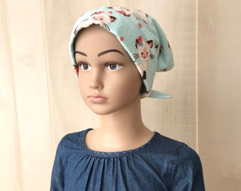 Children's Flannel Head Scarf, Girl's Cancer Hat, Chemo Headwear, Alopecia Head Cover, Head Wrap, Cancer Gift, Hair Loss, Blue White Kittens