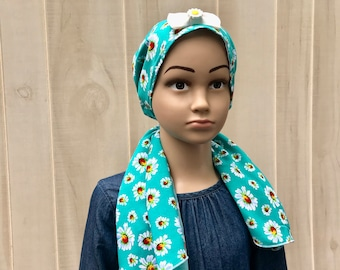 Child's Pre-Tied Head Scarf, Girl's Chemo Hat, Cancer Head Cover, Alopecia Headwear, Head Wrap, Cancer Gift, Hair Loss Gift, Green Daisies