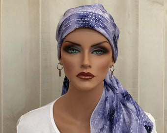 Pre-Tied Head Scarf, Women's Cancer Headwear, Chemo Head Cover, Alopecia Hat, Head Wrap, Hair Loss, Cancer Gift, Purple and White Tie Dye