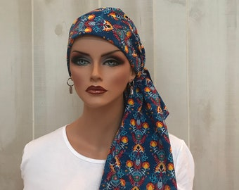 Pre-Tied Head Scarf, Women's Cancer Headwear, Chemo Head Cover, Alopecia Hat, Head Wrap, Hair Loss, Cancer Gift, Blue Abstract