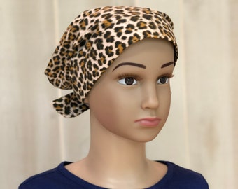 Child's Head Scarf, Childhood Cancer, Ages 5 - 11, Chemo Headwear, Cancer Gifts, Brown Cheetah