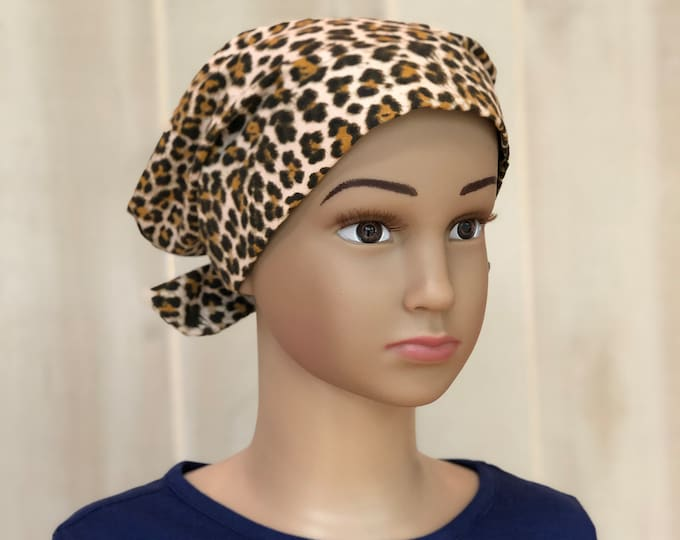 Featured listing image: Child's Head Scarf, Childhood Cancer, Ages 5 - 11, Chemo Headwear, Cancer Gifts, Brown Cheetah