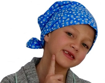 Mia Children's Head Cover, Girl's Cancer Headwear, Chemo Scarf, Alopecia Hat, Head Wrap, Cancer Gift for Hair Loss - Petite Blue Flowers