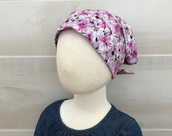 Children's Head Scarf, Girl's Chemo Hat, Cancer Headwear, Alopecia Head Cover, Head Wrap, Cancer Gift for Hair Loss, Pink Flowers