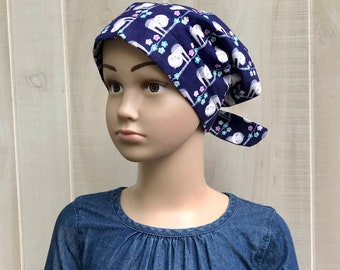 Children's Head Scarf, Girl's Chemo Hat, Cancer Headwear, Alopecia Head Cover, Head Wrap, Cancer Gift for Hair Loss, Navy Blue Sloth