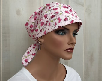 Women's Surgical Scrub Cap, Scrub Hat, Cancer Head Scarf, Chemo Headwear, Alopecia Head Cover, Head Wrap, Cancer Gift, Pink Hearts and Roses