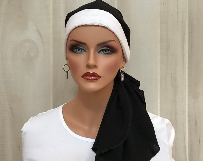 Featured listing image: Pre-Tied Head Scarf For Women With Hair Loss. Cancer Headwear, Chemo Head Cover, Alopecia Hat, Head Wrap, Turban, Black With White Band
