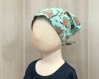Children's Head Scarf, Girl's Chemo Hat, Cancer Headwear, Alopecia Head Cover, Head Wrap, Cancer Gift for Hair Loss, Turquoise Blue Sloths