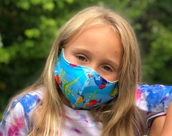 Washable Face Mask, Ages 5 - 12, Adjustable Elastic, Reusable Face Covering, Child Sizes, Silly Sea Life