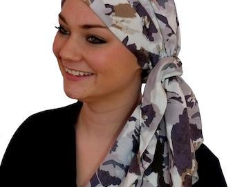 Carlee Pre-Tied Head Scarf, Women's Cancer Headwear, Chemo Scarf, Alopecia Hat, Head Wrap, Head Cover for Hair Loss - Mystic Gray