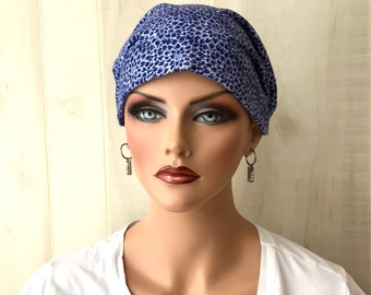 Women's Flannel Head Scarf, Cancer Headwear, Chemo Hat, Alopecia Head Cover, Head Wrap, Turban, Hair Loss, Cancer Gift, Navy Blue Flowers