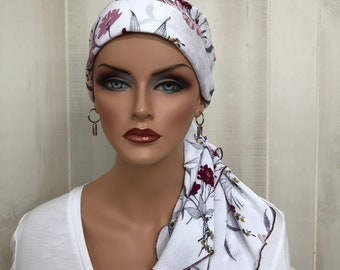 Pre-Tied Head Scarf, Women's Cancer Headwear, Chemo Head Cover, Alopecia Hat, Head Wrap, Hair Loss, Cancer Gift, Pink and Wine Flowers