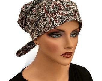 Women's Surgical Scrub Cap, Scrub Hat, Cancer Head Scarf, Chemo Headwear, Alopecia Head Cover, Head Wrap, Cancer Gift, Black Paisley