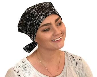 Women's Surgical Scrub Cap, Scrub Hat, Cancer Head Scarf, Chemo Headwear, Alopecia Head Cover, Head Wrap, Cancer Gift, Chalkboard Words