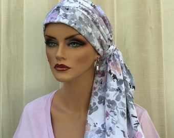 Women's Pre-Tied Head Scarf, Cancer Headwear, Chemo Scarf, Alopecia Hat, Head Wrap, Head Cover, Turban for Hair Loss, Gray and Mauve Flowers