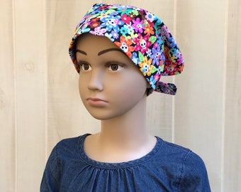 Child's Head Scarf, Childhood Cancer, Ages 5 - 11, Chemo Headwear, Cancer Gifts, Pink Sugar Skulls