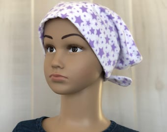 Children's Flannel Head Scarf, Girl's Cancer Headwear, Chemo Hat, Alopecia Head Cover, Head Wrap, Cancer Gift, Hair Loss Gift, Purple Stars