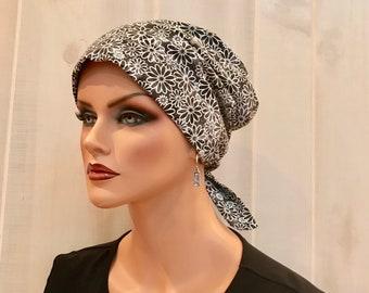 Women's Surgical Scrub Cap, Scrub Hat, Cancer Head Scarf, Chemo Headwear, Alopecia Head Cover, Head Wrap, Cancer Gift, Black White Flowers