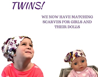 Twin Head Scarves, Mia Child's Head Scarf, Shiri Doll Hat, Cancer Gift, Chemo Hat, Cancer Head Wrap, Alopecia, Hair loss, Purple Butterflies