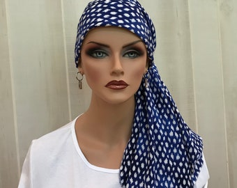 Pre-Tied Head Scarf For Women With Hair Loss. Cancer Headwear, Chemo Head Cover, Alopecia Hat, Head Wrap, Turban, Cancer Gift, Sapphire Blue